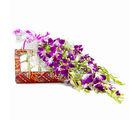 Giftacrossindia Bouquet of 6 Purple Orchids with Box of 500 Gms Kaju Barfi (GAIMPHD0468)