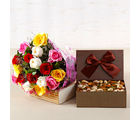 Giftacrossindia Bouquet of Twenty Mix Color Roses with Assorted Dry Fruits Box (GAIMPHD0377)