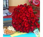 Giftacrossindia Hundred Red Roses Bouquet With Mix Dryfruits