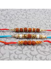 Giftacrossindia Set Of Three Rudraksh Rakhi