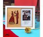 Giftacrossindia Golden Rose And Effervescent Love Couple Photo Frame (GAICOUVAL2019221)