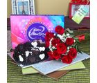 Giftacrossindia Heartshape Chocolate Cake With Roses Bouquet And Cadbury Celebration Chocolate Pack
