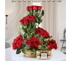 Giftacrossindia Ferrero Rocher Chocolate With Designer Red Roses In Basket (GAIVALHD20190444)