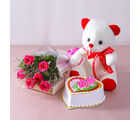 Giftacrossindia Six Pink Roses with Heart Shape Vanilla Cake and Cute Teddy Bear (GAIMPHD0489)