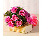 Giftacrossindia Lovely Six Pink Roses Bouquet with Cellophane Wrapped (GAIMPHD0065)