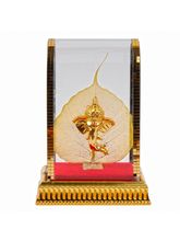 Giftacrossindia Leaf Gold Plated Lord Ganesh Face Covered By Glass Cabinet (GAICOU0188)