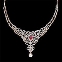 Diamond Necklace, 9.10cts, 18k 48.23gms, e/f-vvs1