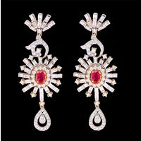Diamond Earrings, 3.28cts, 18k 21.50gms, e/f-vvs