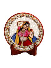 Aapno Rajasthan Pure Marble Handpainted Jaali Pattern Decorative Plate (MAR15338)