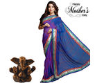Aapno Rajasthan Deep Blue Shaded Chiffon Saree with hand Tied Bandhni work for Mother's Day