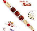 Aapno Rajasthan Aapno Rajasthan Golden Cylindrical Beads Tri Rudraksh Rakhi, only rakhi with 200 gms kaju katli