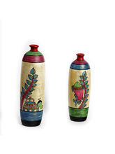 Aapno Rajasthan Multicolor Hand Painted Terracotta Vase With Elephant And Fish Motif (TC1460)