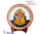 Aapno Rajasthan Carved Ganapati Painted Marble Plate