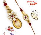 Aapno Rajasthan Aapno Rajasthan Red & Golden Beads Studded Bhaiya Bhabhi Rakhi Set, only rakhi