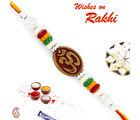 Aapno Rajasthan Multicolor Beads Studded Elegant Om Rakhi, only rakhi