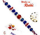 Aapno Rajasthan Red & Blue Crystal Stone & AD studded Beautiful Rakhi, only rakhi