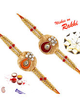 Aapno Rajasthan Set Of 2 Zardosi Rakhi With Americ...