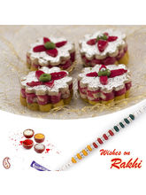 Aapno Rajasthan Kaju Chandramukhi Sweet With Free 1 Bhaiya Rakhi, only rakhi with 1000 gms sweet
