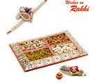 Aapno Rajasthan Floral Design Dryfruit Gift Box With 1 Bhaiya Rakhi