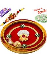 Aapno Rajasthan Red & Yellow Pooja Thali with Ganesh Motif with 1 Charming Rakhi, only rakhi