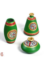 Aapno Rajasthan Green And Gold Hand Painted Terracotta Vase Set With Tribal Art (TC1414)