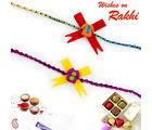 Aapno Rajasthan Aapno Rajasthan Set of 2 Yellow & Red Dress Motif Kids Rakhi, only rakhi