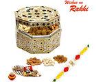 Aapno Rajasthan Polygon Golden Box With Rakhi & Dryfruits