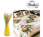 Aapno Rajasthan Combo Of Multicolor Printed Bedsheet And Yellow Artificial Flowers
