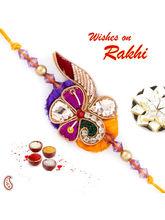 Aapno Rajasthan Purple & Yellow Beautiful Zardosi Rakhi, only rakhi