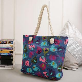 Tamirha Charming Blue Contemporary Print Handbag F...
