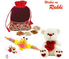 Aapno Rajasthan Dryfruits Pouch With Teddy & Kids Rakhi