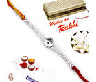 Aapno Rajasthan Beautiful White crystal Silver chain Rakhi, only rakhi
