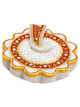 Aapno Rajasthan Flower Shaped Ganesh Marble Kumkum Chopra (MAR15329)