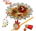 Aapno Rajasthan Premium Crystal Tray Rakhi Hampers With Rakhi, only hamper