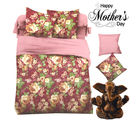 Aapno Rajasthan Magenta Polyester King Size Bedsheet with Beautiful Floral Print for Mother's Day