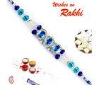 Aapno Rajasthan Aapno Rajasthan Light & Dark Blue Crystal Stones Rakhi, only rakhi with 200 gms kaju katli