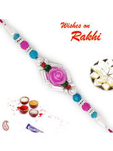 Aapno Rajasthan Pink & Blue Beads Studded Rose Sha...