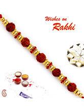 Aapno Rajasthan Aapno Rajasthan Golden Round Ring Studded Rudraksh Rakhi, only rakhi
