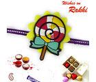 Aapno Rajasthan Yellow & Red Candy Rakhi With Purple Band, only rakhi