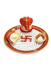 Aapno Rajasthan Marble Pooja Thali With Diya, Chopra And Ganesh Figurine (MAR15322)