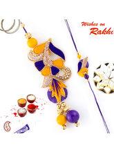 Aapno Rajasthan Lovely Yellow & Purple Rich Zardosi Bhaiya Bhabhi Rakhi Set, only rakhi with 200 gms kaju katli