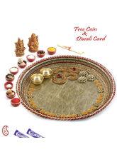 Aapno Rajasthan Om Studded Designer Golden Pooja T...