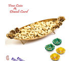 Aapno Rajasthan Boat Shape Gold Finish Tray With Dry Fruits