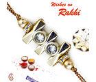Aapno Rajasthan Golden & Silver Charm Ad Studded Rakhi, only rakhi