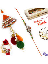 Aapno Rajasthan Orange & Green Jewelled Bhaiya Bhabhi Rakhi Set, only rakhi