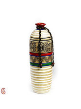 Aapno Rajasthan Gold And White Hand Painted Terracotta Vase (TC1405)