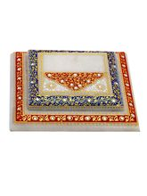 Aapno Rajasthan Marble Chowki With Contemporary Print In Red And Blue (MAR15320)