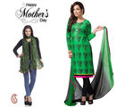 Aapno Rajasthan Designer Green Suit And Green Dupatta For Mother's Day