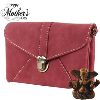 Tamirha Attractive Maroon Sling Bag With Buckle Cl...