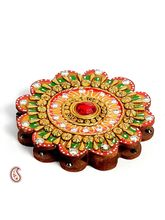 Aapno Rajasthan Floral Design Kumkum Chopra Made In Wood And Clay (WUDCLY1295)